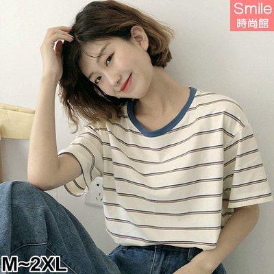 【V3121】SMILE-夏日玩色.細條紋配色寬鬆短袖上衣