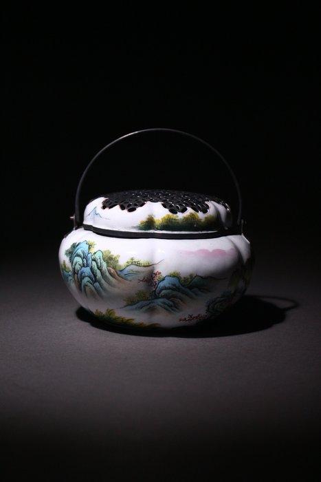 悅年堂 --- 銅胎 琺瑯彩 訪友圖 薰爐 z
