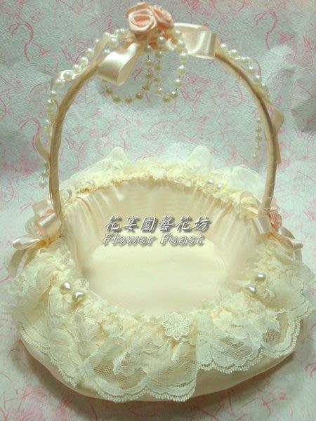【花宴】*雅緻蕾絲喜糖籃(米色款)*送客禮籃~擺放喜糖~花瓣~婚禮小物
