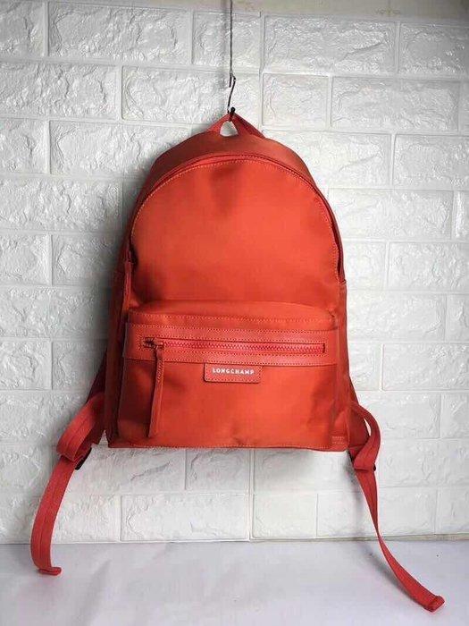 LONGCHAMP 橘色 經典雙肩後拉鍊背 輕便 防水 尼龍拼接皮革 耐用 旅遊 大款 限時優惠