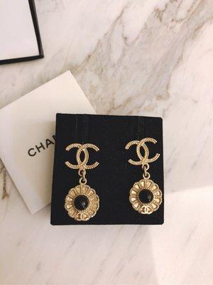 專櫃正品Chanel 麥穗雙C logo垂墜太陽花黑珍珠耳環 新竹市