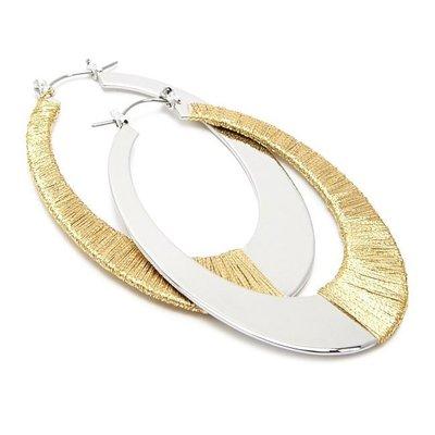 正品 FOREVER 21 thread-wrapped oval hoop earrings