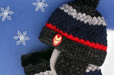 韓國winghouse 兒童冬季配件  鋼鐵人刷毛帽 圍巾組 MV0438