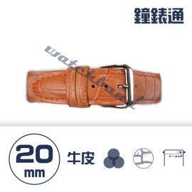 【鐘錶通】C1.05KW《繽紛系列》鱷魚壓紋-20mm 橙橘┝手錶錶帶/高質感/牛皮錶帶┥