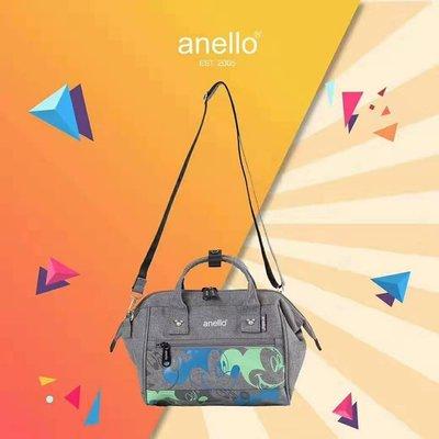 日本anello 米奇聯名款 側揹手提兩用包──牛仔藍&灰