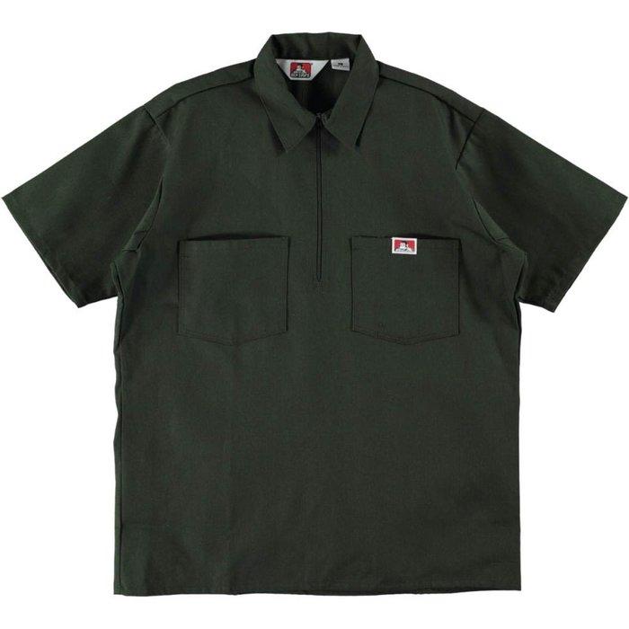 BEN DAVIS - 橄欖綠 經典素面 布標小LOGO短袖工作拉鍊襯衫-復古 工裝 VINTAGE DICKIES