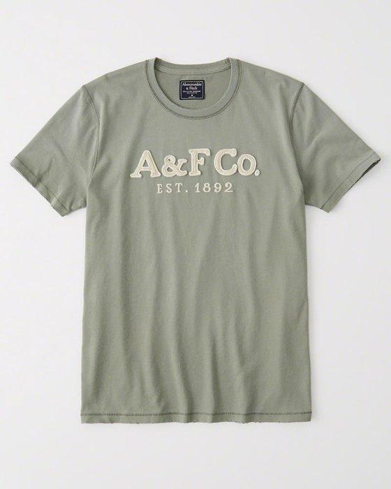 Maple麋鹿小舖 Abercrombie&Fitch * AF 綠色貼布電繡字母短T * ( 現貨L號 )