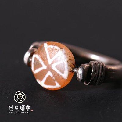 鑲嵌千年雙面鑲蝕紅玉髓戒指 藏傳千年 包老保真 設計款