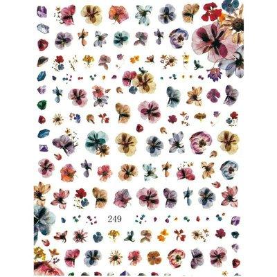 美甲貼紙《 249 暈染花貼紙 》素描花朵 背膠貼紙 花 指甲貼紙 手繪花朵貼紙 貼紙[羽美甲材料]