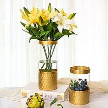 〖洋碼頭〗金色金箔透明玻璃花瓶家居擺件軟裝插花簡約輕奢樣板房裝飾 sme337