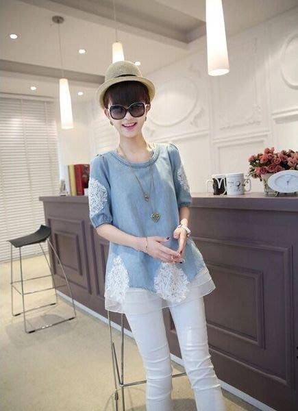 預購-新款韓版夏季孕婦時尚蕾絲短袖套裝