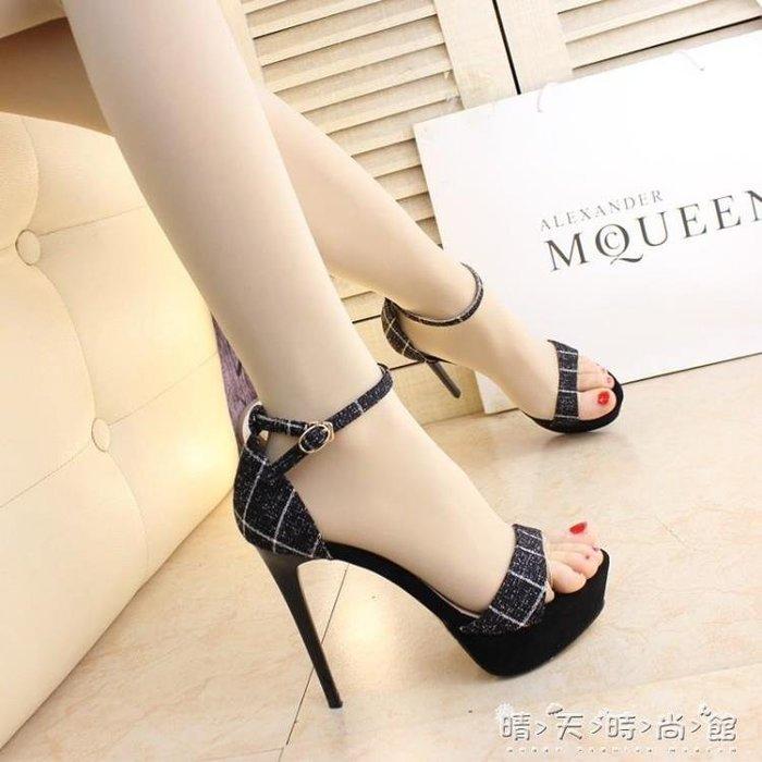 12cm細跟布面格子撞色涼鞋超高跟一字搭扣高跟涼鞋黑色防水台夏女
