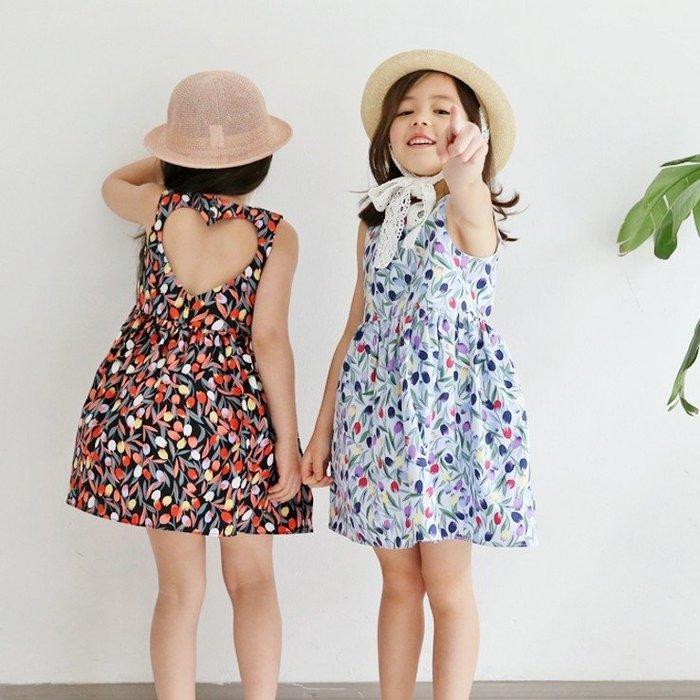 【小阿霏】兒童夏日無袖洋裝 女孩露背愛心背心連衣裙 女童連身裙子姐妹裝CL163