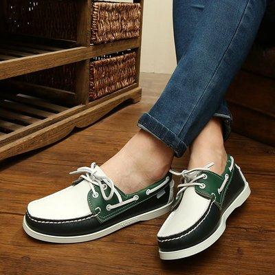 韓版皮鞋 外貿原單帆船鞋 P'SEBAGO真皮潮流駕車鞋 英倫平底情侶鞋男鞋女