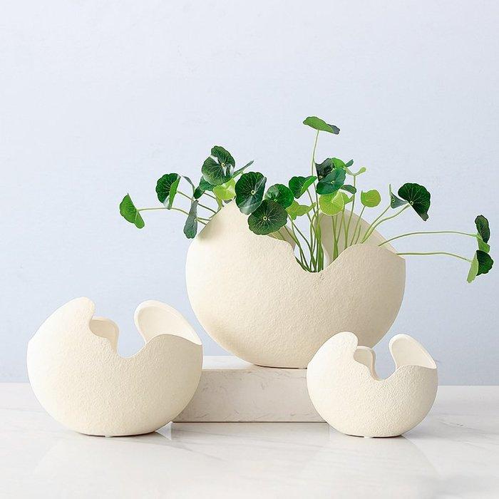 陶瓷蛋殼花瓶 蛋殼花瓶 創意北歐風擺件 客廳花插花套裝餐桌家居裝飾品(小)_☆找好物FINDGOODS ☆