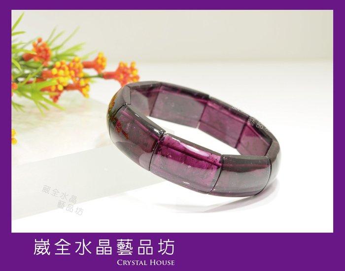 【崴全水晶】5A頂級 透亮 天然 紅碧璽 紫紅碧璽 手排【16*23.5mm】