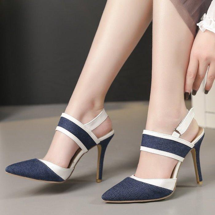 尖頭高跟涼鞋 #J-052 牛仔面料 今夏爆款(可訂製)