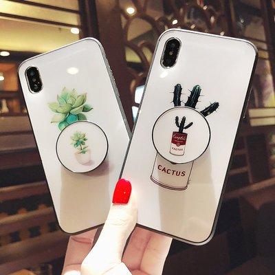 iphone xs max 手機殼 7 8玻璃仙人掌🎉x保護殼氣囊支架蘋果8plus亮面亞克力7P小清新6S日韓