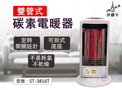 【可拆式】伊娜卡碳素電暖器(雙管式) 護網植絨 防燙手 家用電暖爐 辦公室暖氣爐 台灣製 ST-3816T
