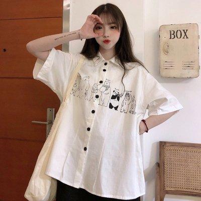 小香風 短袖T恤 時尚穿搭 白色設計感小眾短袖襯衫女年 韓版 洋氣時尚寬松潮上衣
