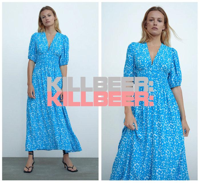 KillBeer:小姐姐等等我之 歐美復古優雅青花瓷靛藍剪影印花V領泡泡袖開叉連身裙長洋裝A073004