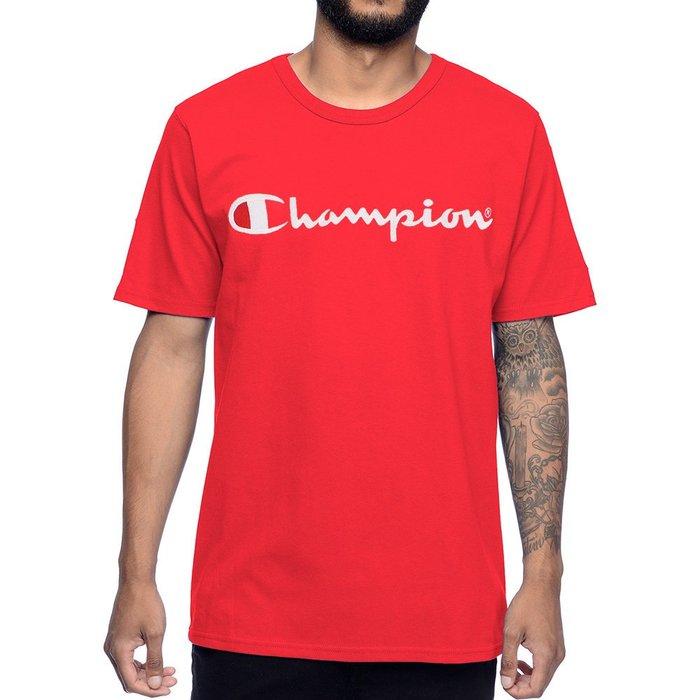 美國百分百【Champion】冠軍 T恤 短袖 T-shirt 電繡 草寫 logo 素T 高磅數 潮牌 紅色 H152