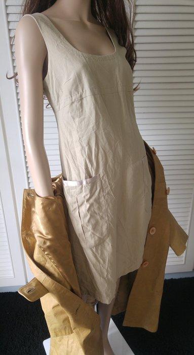 MAX & CO 淺駝色天然棉麻素材大U領洋裝