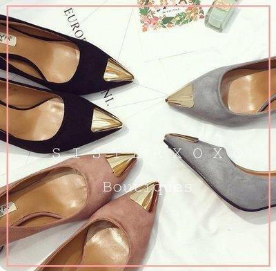 已斷貨- 簡約奢華 復古時髦 超穩高跟鞋 粗跟超好走 名媛風 韓國絨面設計 典雅金屬尖頭高跟鞋