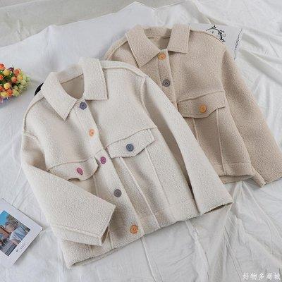 好物多商城 秋冬新款韓版純色拼接翻領彩紐羊羔毛寬松加厚短外套A492