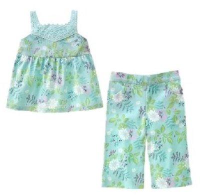 (((出清特價))) 全新 ~ JANIE AND JACK 紫綠花樣手工鉤花長褲套裝 (7yrs)