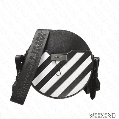 【WEEKEND】 OFF WHITE Round Diag 線條 圓形 肩背包 黑色 20春夏