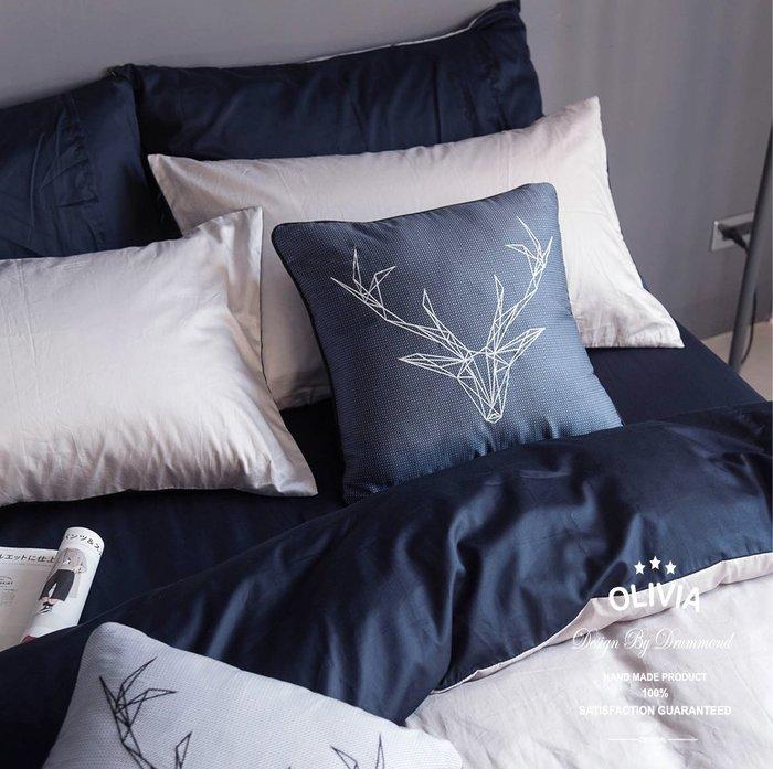【OLIVIA 】 BEST16 GRAY X NAVY  標準單人床包美式枕套兩件組  素色無印系列 100%台灣製