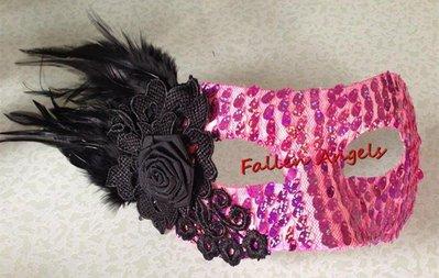 哆啦本鋪 側花蕾絲羽毛水鑽面具 威尼斯公主舞會面具 萬聖節派對聚會面具 D655