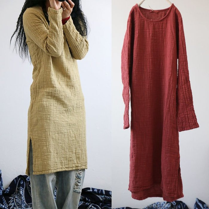 【子芸芳】禪意袍植物染砂洗肌理亞麻長款寬鬆連衣裙