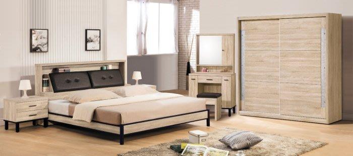 【DH】商品貨號V32-1A商品名稱多納5尺床套組(圖一)床台/床頭櫃*1/六呎衣櫃/鏡台。木心板台灣製。主要地區免運費