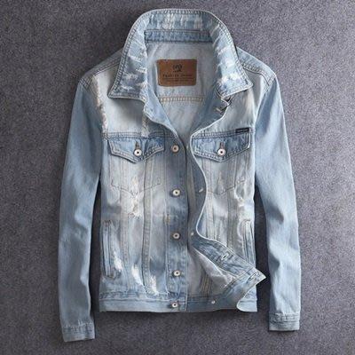 牛仔 外套 淺色夾克(零碼賠售出清、恕不退換)-時尚個性磨破休閒男外套73rj1[獨家進口][米蘭精品]