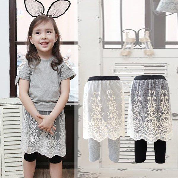 【班比納精品童裝】氣質蕾絲裙褲-黑/灰 兩色可選