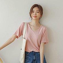 Bellee 正韓 V領純色超親膚 彈性絲棉短袖上衣  (6色)【DK6121】 預購