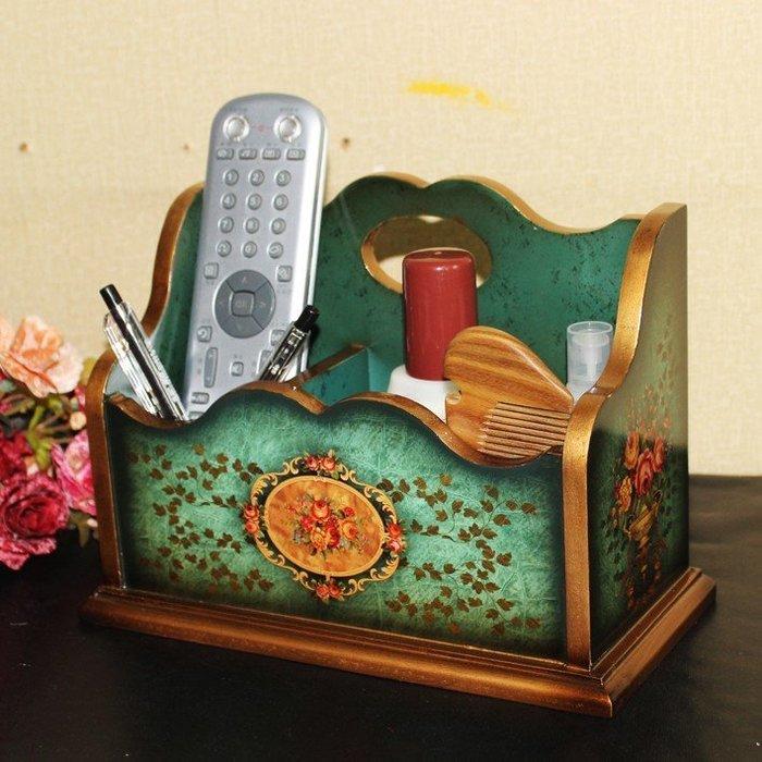 粉紅玫瑰精品屋~歐式仿古遙控器盒桌面收納盒~