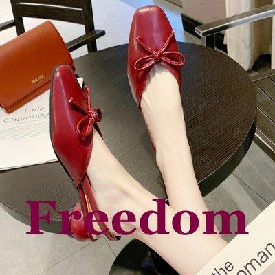 Freedom女鞋歐洲站包頭涼鞋女晚晚風溫柔鞋蝴蝶結搭裙子洋裝的鞋百搭仙女中跟粗跟