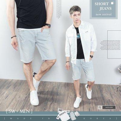 。SW。【K91691】正韓PES 韓國製 超彈力彈性單寧布 褲頭彈性佳 極淺藍白 抽鬚破壞 牛仔短褲 英倫GD