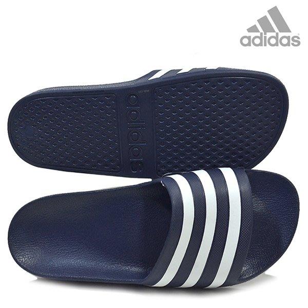 運動GO ADIDAS 愛迪達 防水拖鞋 運動拖鞋 休閒拖鞋 深藍/白 大尺寸5~13 男款 F35542