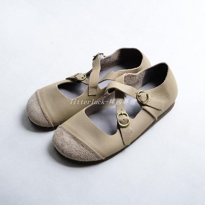 litterluck-韓國專櫃復古奶奶鞋女平底森系文藝娃娃鞋女圓頭軟底牛筋底真皮超火丑萌鞋
