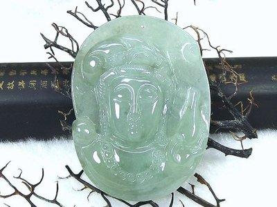 □§Disk的天然水晶§□【永保平安】老坑冰綠翡翠淨瓶觀音佛首雕墜EJ-26-A貨專賣~全館滿千9折+超取免運