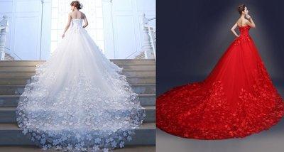 包郵 齊地抹胸1米2米拖尾婚紗顯瘦夢幻新娘 可定造不加錢