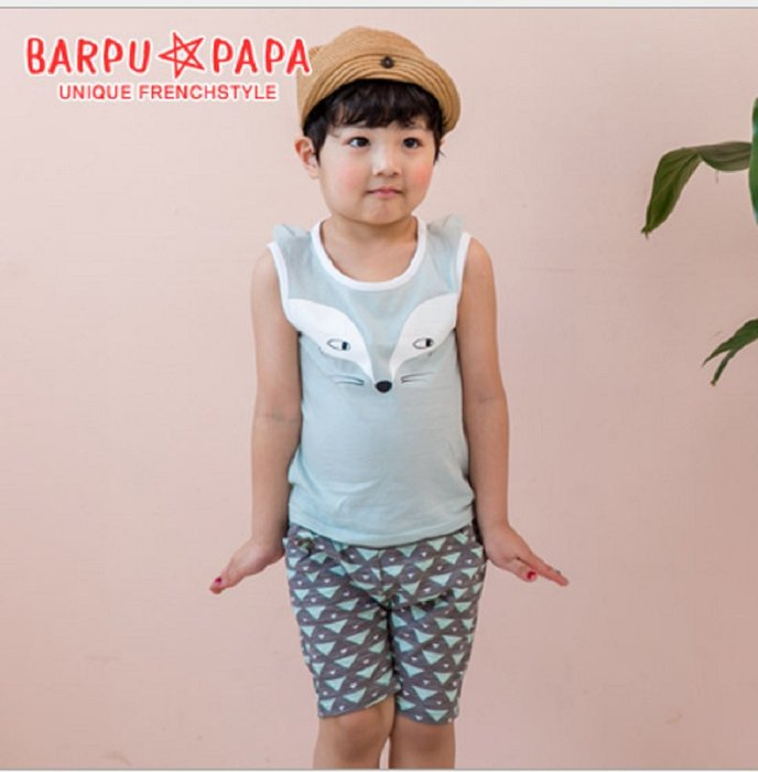 現貨~ (BARPUPA)韓國童裝韓版純棉舒適男寶寶短袖短褲兩件套時尚外出服(可愛狐狸背心套裝)