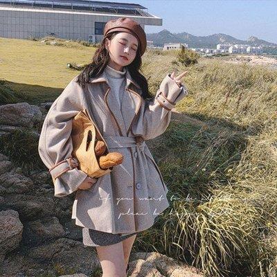 毛呢 外套 長款 大衣-撞色包邊寬鬆秋冬女外套73yx43[獨家進口][米蘭精品]