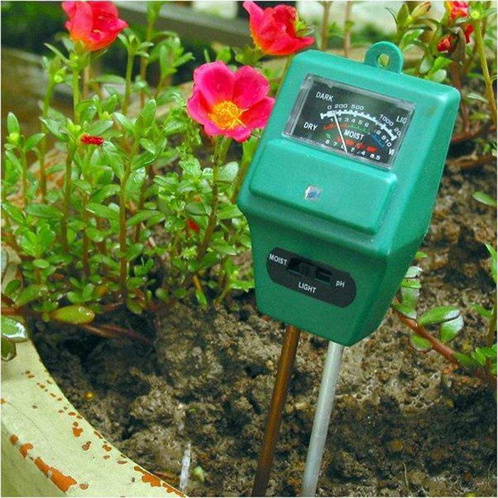 園藝用品土壤酸鹼度計濕度計照度計三合一土壤檢測儀ph計(1入組)B31