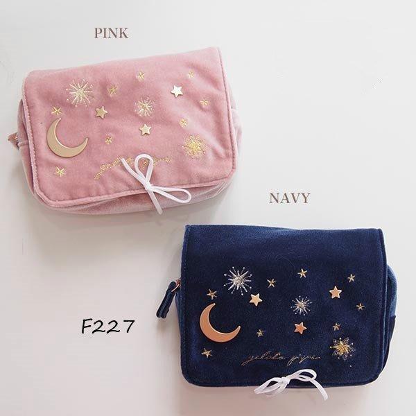 F227療癒系月亮星星 刺繡化妝包 收納包 雜物包$690 Gelato pique