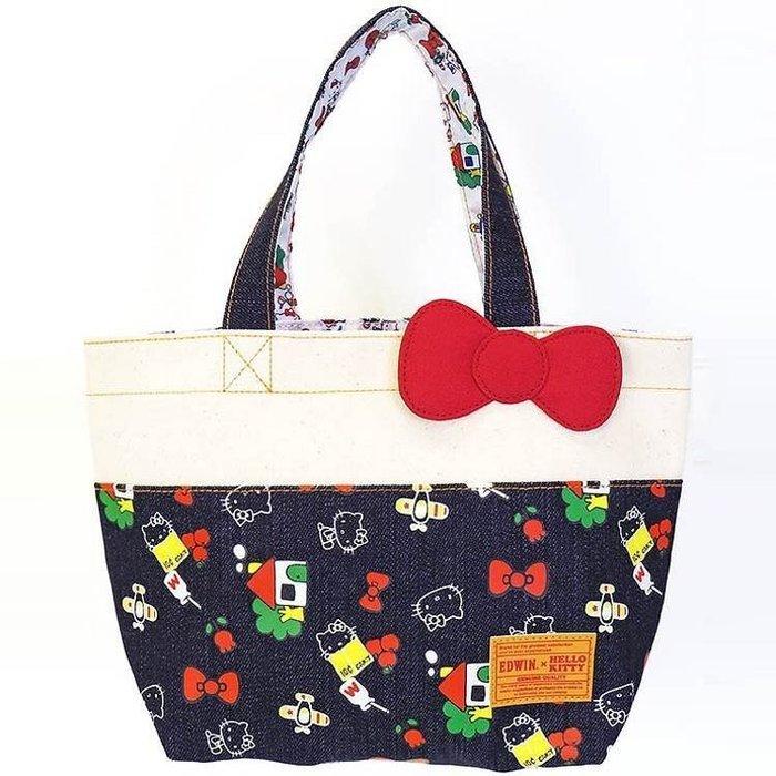 帆布手提袋  三麗鷗 EDWIN x HELLO KITTY 蝴蝶結 飛機 小房子 蘋果  日本進口正版授權